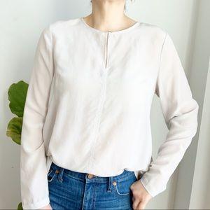 Simons Grey 100% Silk High Low Blouse Size M